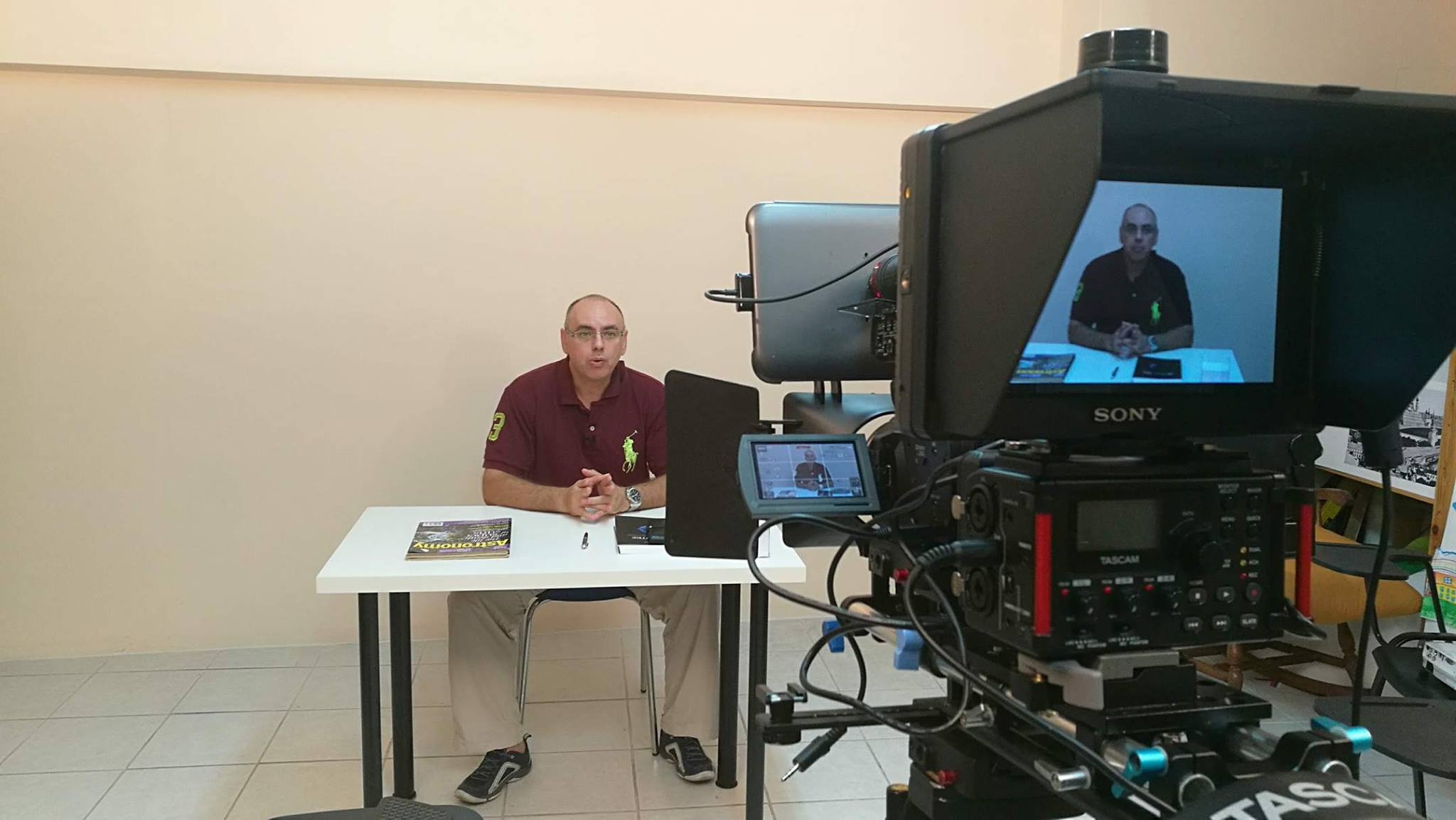 Takis Theodosiou with Fryktories team making a short video about Asteroid Day Greece
